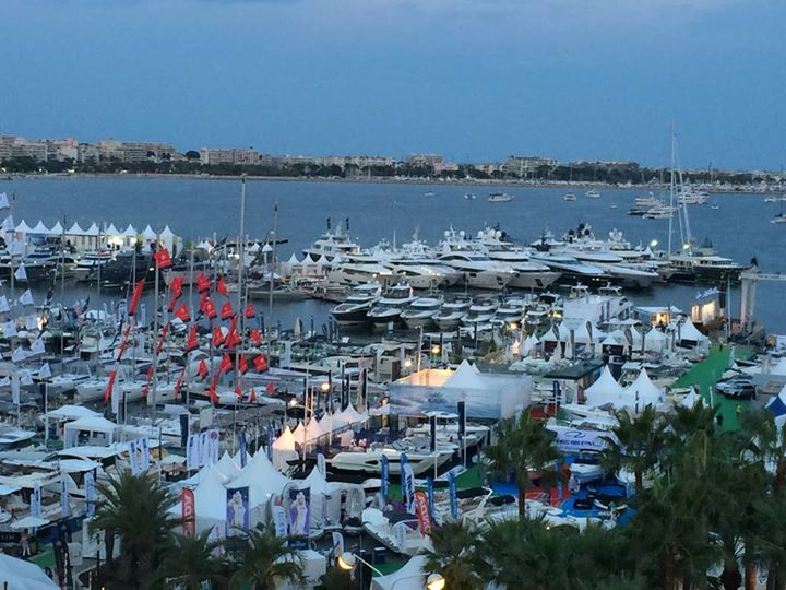 Sunset overlooking Cannes Yachting Festival